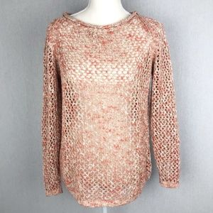 Lafayette 148 New York Open Knit Coral Sweater